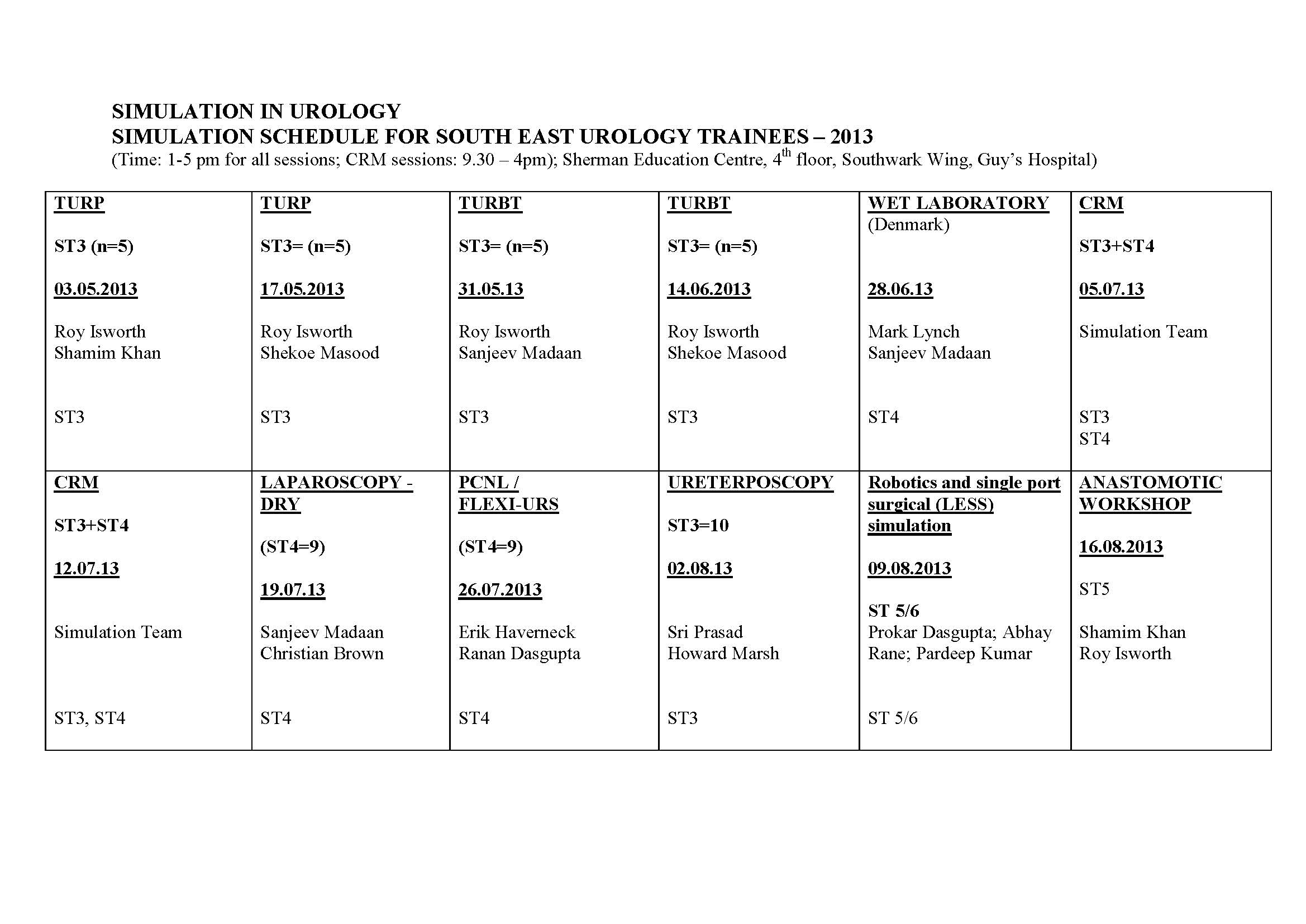 Urology Simulation Timetable _version 2_2013
